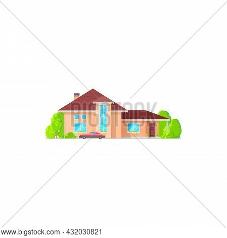 Town Cottage, Family Mansion With Chimney On Roof, Green Trees. Vector House In Flat With Retro Car,
