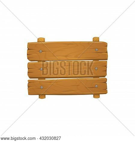 Nailed Boards On Wooden Signboard Isolated Realistic Announcement Desk. Vector Wood Plaque, Empty Ti