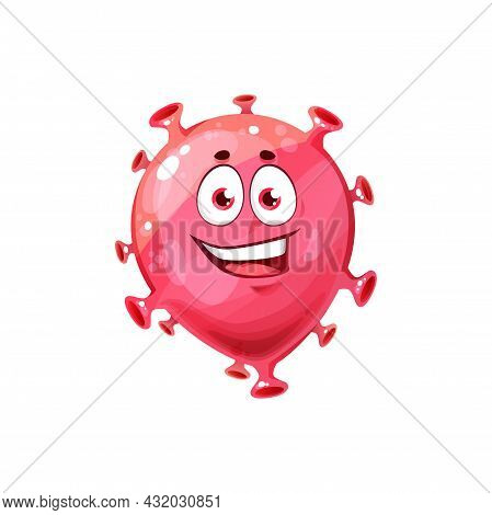 Bacterial Funny Pathogen, Microbiological Coronavirus Isolated Icon. Vector Biological Monster Happy