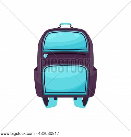 Kids Schoolbag Isolated Vector Icon, Student Rucksack Of Blue And Purple Colors, Cartoon Hiking Back
