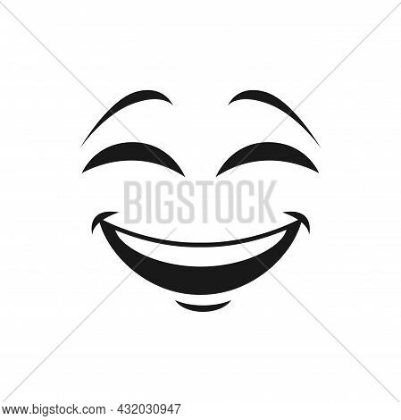 Cartoon Face Vector Icon, Happy Emoji, Laughing Facial Expression With Smiling Toothy Mouth And Clos