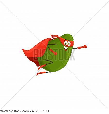 Cartoon Avocado Superhero Isolated Vector Icon. Vegetable Super Hero Personage In Cape And Mask Flyi