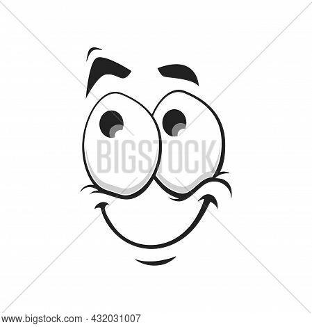 Cartoon Face Vector Icon, Funny Dreaming Smile Emoji, Dreamy Relaxed Facial Expression, Positive Sat