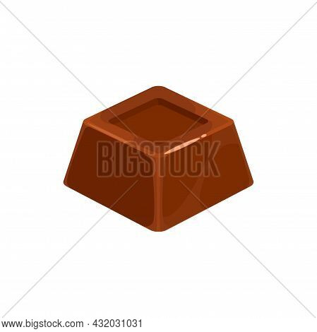 Choco Treat With Cocoa Cream Isolaetd Square Shape Candy. Vector Praline Confection Sweet Food Snack