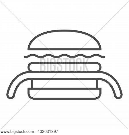 Burger Kuro Ninja Thin Line Icon, Asian Food Concept, Black Ninja Vector Sign On White Background, O