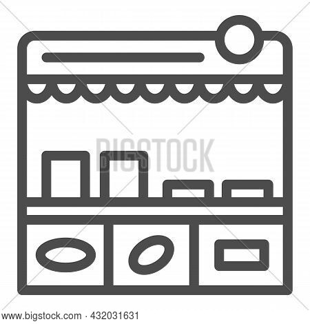 Fast Food Stall Line Icon, Asian Food Concept, Korean Kiosk Vector Sign On White Background, Outline
