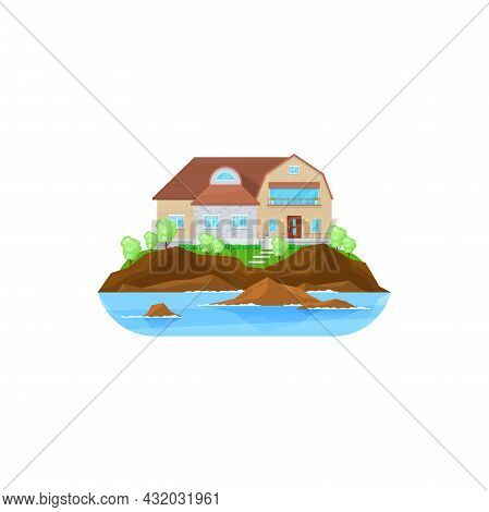 House At Water, Building Or Home Cottage And Modern Residential Estate, Vector Flat Icon. Private Ho