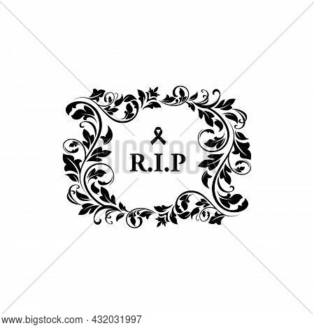 Funeral And Obituary Condolence Card With Flowers And Rip Message, Vector Grief Floral Wreath. Funer