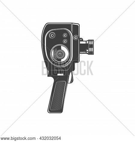 Film Making Device Isolated Photo Camera Monochrome Icon. Vector Cinema Shooting Equipment, Manual P