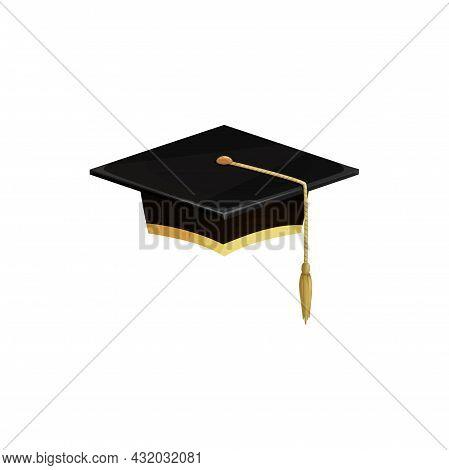 Graduation Hat Or University Cap, Education Vector Icon. Diploma Or Graduate School Ceremony, Achiev