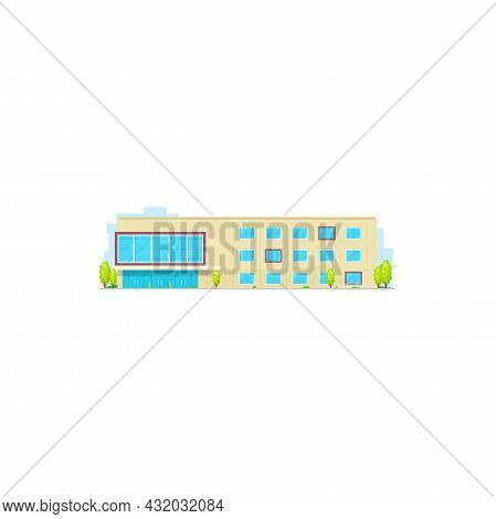 School Building, College Or University Icon, Education House, Vector Isolated Flat. High Or Elementa
