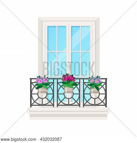 Balcony Of House, Window Facade With Building Apartment Banister, Vector Flat Icon. Vintage Or Moder