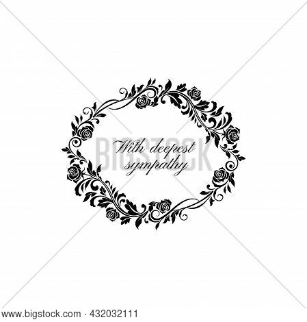 Funeral Lettering With Deepest Sympathy Isolated Round Frame. Vector Memorial Text On Tombstone Mock
