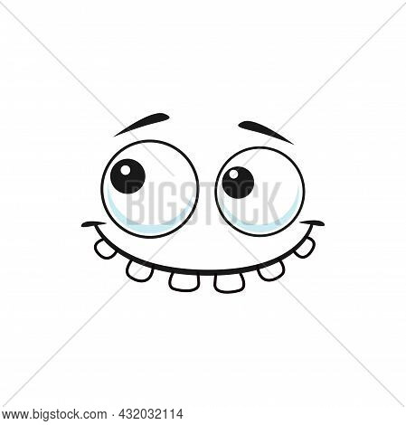 Stupid Emoji With Rare Tooth Isolated Outline Icon. Vector Emoticon With Silly Eyes, Confused Face E