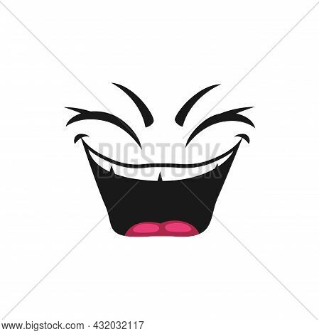 Emoticon With Mouth Open Of Laugh And Blinked Eyes Isolated Icon. Vector Satisfied Avatar Expression