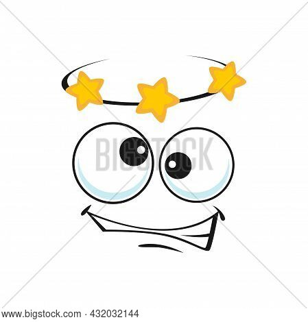 Dizzy Emoji Showing Stars Over Head Isolated Icon. Vector Emoticon Face With Crazy Eyes, Stars Circl