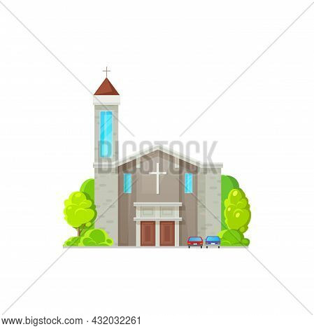 Catholic Church Building Vector Icon. Cathedral, Monastery Or Chapel Facade. Christian Church Archit