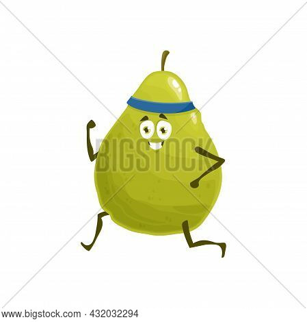 Pear Fruit Jogging, Healthy Food Sport And Fitness Activity, Vector Cartoon Character. Pear Fruit Ru