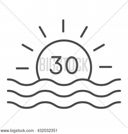Sun With Number 30 And Sea Sunrise Thin Line Icon, Love And Relationship Concept, Thirty Vector Sign