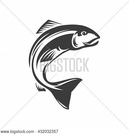 Salmon Ray-finned Fish Isolated Fishery Mascot Monochrome Icon. Vector Trout Fish Grayling Whitefish