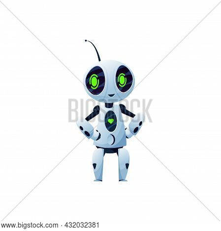 Stylish Sci Fi Bot, Cyber Machine Isolated Friendly Artificial Intelligence Bot. Vector Android Robo