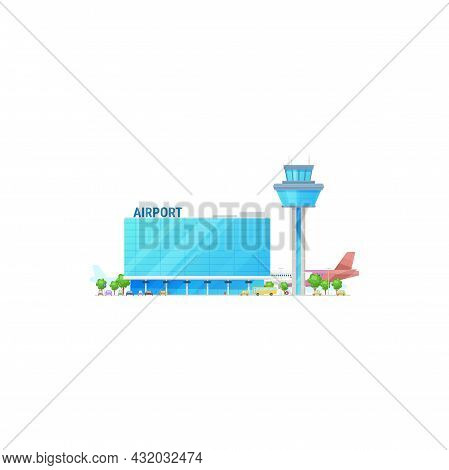 Airport With Plane Jet At Airfield, Skyline Port Building Isolated. Vector Modern City Airport Facad