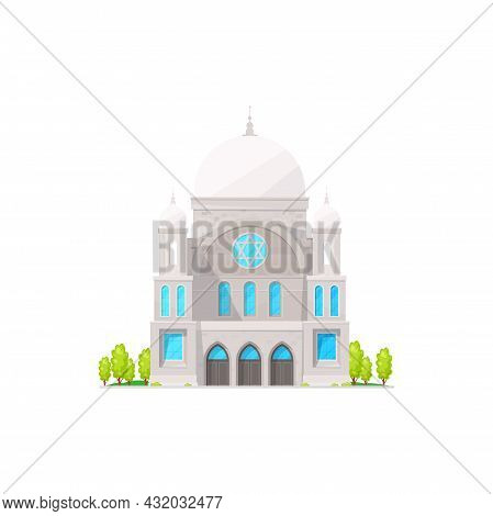 Synagogue Vector Isolated Jewish Religion Building Flat Cartoon. Vector Jewish Church Architecture L