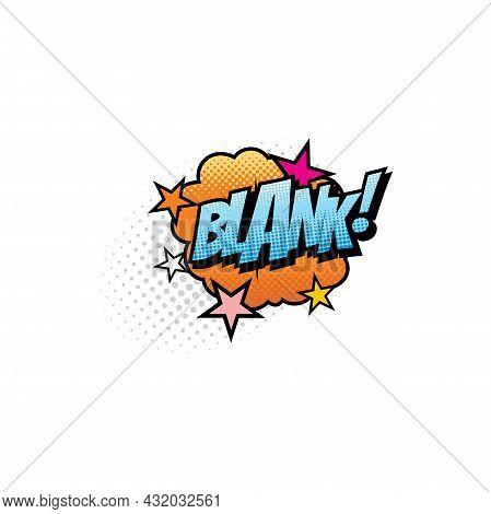 Blank Pop Art Comic Bubble Isolated Vector Icon. Cartoon Retro Sound Cloud Blast Explosion With Half