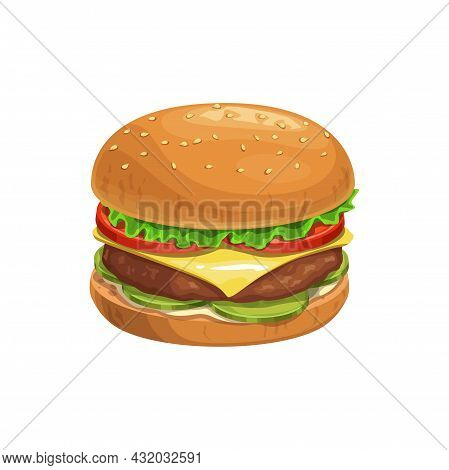 Cheeseburger Burger, Fast Food Sandwich Menu Vector Isolated Icon. Fastfood Restaurant Or Street Foo