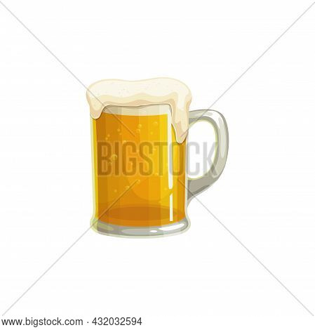 Beer Mug, Fast Food Menu Icon, Cold Beverage Or Refreshment, Vector Isolated. Fastfood Restaurant Or