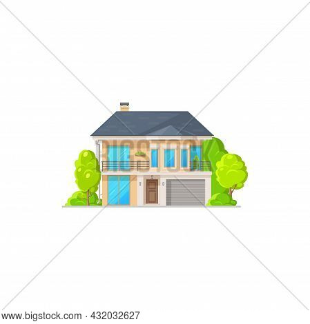 Home House, Villa Bungalow Or Condominium Building Vector Icon Flat Isolated. Private House And Resi