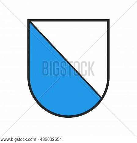 Switzerland Canton Flag, Swiss Zurich Coat Of Arms, Vector Heraldic Crest Shield. Schweiz Kanton Or
