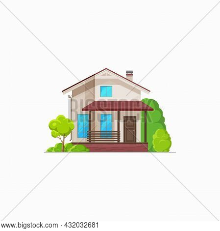 Patio Facade Exterior Isolated Chalet Building Realistic Icon. Vector Country Building Townhouse, Pr