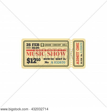 Concert Ticket To Classical Music City Hall, Card Isolated Template. Vector Pass To Grand Hall Paper