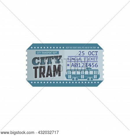 Tram Ticket Isolated Blue Control Pass Template. Vector City Transport Department Travel Ticket With
