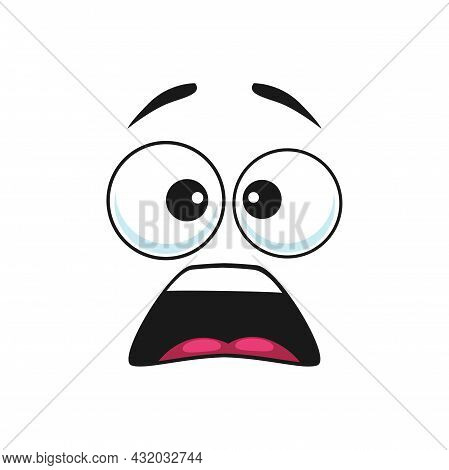 Cartoon Face Vector Surprised Funny Emoji, Astonished Facial Expression With Wide Open Mouth And Gog