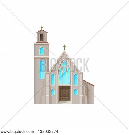 Catholic Church Building Vector Icon. Medieval Cathedral With Gothic Arch Windows. Chapel Or Monaste