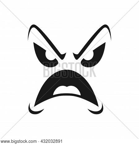 Halloween Face Vector Icon, Monster Emotion, Screaming Scary Evil Emoji With Grin Creepy Eyes, Frown
