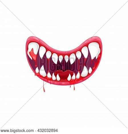 Monster Mouth Vector Icon, Creepy Smiling Jaws With Sharp White Teeth And Bloody Dripping Saliva. Ca