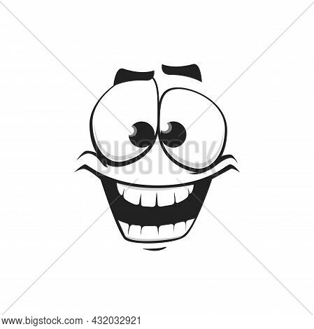 Cartoon Face Isolated Vector Icon, Wide Smile Facial Emoji Of Funny Stupid Creature, Happy Emotion,