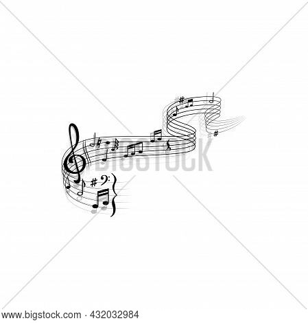 Notes On Music Sheet With Treble Clef Isolated Monochrome Icon. Vector Bass Melody Quaver Or Quarter