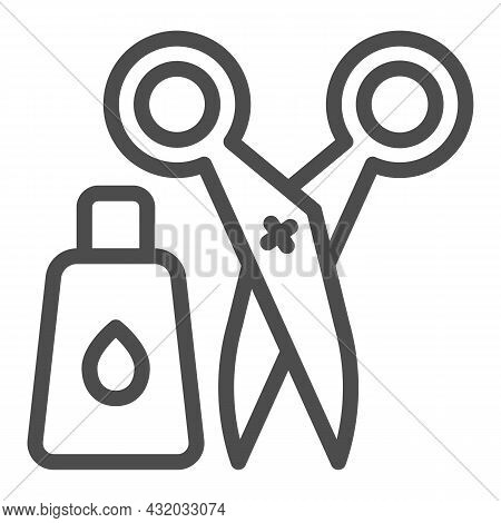 Glue And Scissors Line Icon, Office Supplies Concept, Office Implements, Tools Vector Sign On White