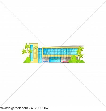 Fitness Center Tropical City Architecture Building Facade Exterior With Palm Trees Isolated Cartoon