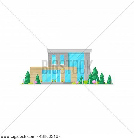 Modern House With Windows, Wooden Chalet Or Villa Flat Cartoon Icon. Vector Facade Of Modern Home, F