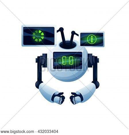 Chatbot Helper Isolated Robot With Chat Dashboards Realistic Icon. Vector Robot With Digital Screens