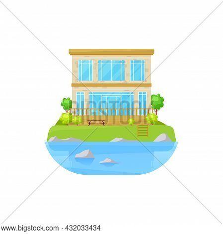 House At Lake, Villa Mansion At Water, Cottage Home At Sea Or Park Pond, Vector Building. Residentia