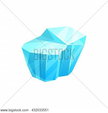 Ice Crystal, Iceberg Cube Or Cold Snow Block, Vector Isolated Icon. Frozen Water Ice Or Winter Icicl