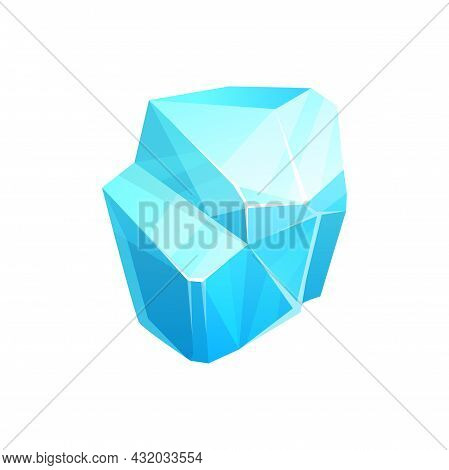 Crystal Ice, Solid Water Of Cold Cool Liquid, Blue Vector Block With Reflection. Freeze Iceberg Cube