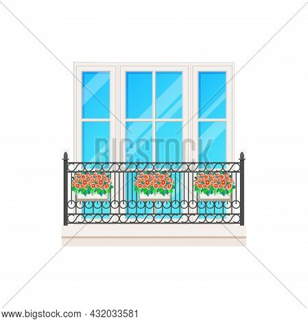 Balcony Or Window With Fence Railing, Building Architecture And House Facade Banister, Vector. Glass