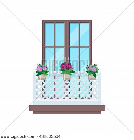 Balcony Window Fence Railing And Banister Porch, Vector Building Architecture. House Facade Balcony
